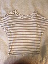 Ann Taylor LOFT Womens Size XS Shirt Brown/White Button Down Back