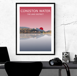 Coniston Water Sunset Art Print, The Lake District National Park Landscape,Lakes