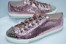 New Miu Miu Womens Sneakers Tennis Shoes Fashion Size 9.5 Pink Glitter Lux