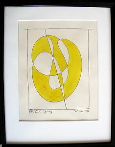 Fine Art Original Abstract Ink Drawing William Tarr, signed, '82, Modernism