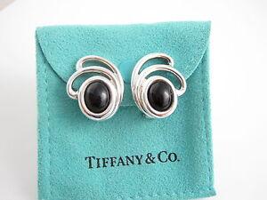 Tiffany & Co RARE Silver Onyx Spray Splash Clip On Earrings!