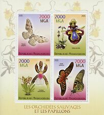 Madagascar 2015 MNH Butterflies & Orchids 4v MS Insects Butterfly Flowers Stamps