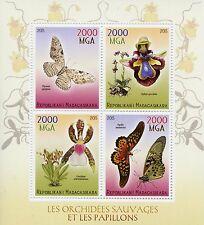 Madagascar 2015 estampillada sin montar o nunca montada Mariposas & orquídeas 4v MS Insectos Mariposa Flores Sellos