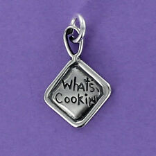 Pot Holder Charm Sterling Silver 925 for Bracelet What's Cookin' Engraved Loop