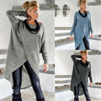 Womens Loose Tunic Long Tops Blouse Casual Irregular Dress T Shirt Pullover S8B4