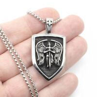 316L Stainless Steel Archangel Saint St Michael Medal Shield Pendant Necklace