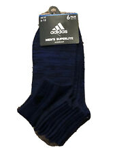 Adidas MEN's Superlite LOW-CUT Socks Shoe Size 6-12 Aeroready 6-Pair Black Royal