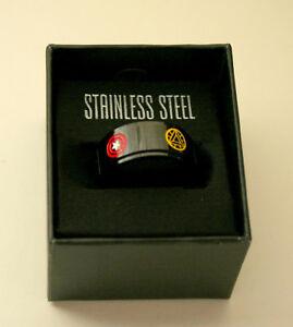Marvel Comics Avengers Worry Rotating Stainless Steel Black Ring New NOS Box