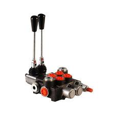 2 Bank Hydraulic Monoblock Lever Spool Valve, D/Act, 1/2 / 3/8 BSP Ported, 45lpm