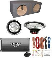 2) Boss CX124DVC 12-Inch 1500W Subwoofers + Sub Box + Amplifier + Amp Kit