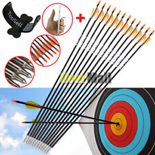 "12x 31.5"" Archery Arrow Fiberglass Arrows Nocks Fletched Target Practice Hunting"