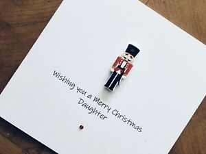Personalised Handmade Christmas Cards - Wooden Nutcracker 13.5cm X 13.5cm
