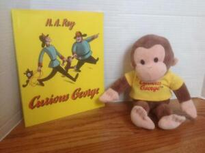 CURIOUS GEORGE Book & Applause Plush MONKEY by H.A. Rey ~  CLEAN & Darling!