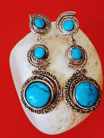 Natural Blue Turquoise with Marcasite 925 Sterling Silver Earrings
