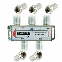 4 WAY COAX TV AERIAL UHF VHF FM SIGNAL SPLITTER METAL NICKEL PLATED ADAPTER NEW