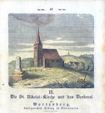 WARTENBERG bei Erding - Nikolaikirche - Holzstich 1859