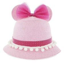 Disney Parks Youth Girls Size Pink Minnie Mouse Ears Beach Bucket Sun Hat New