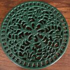 One Vintage CAST IRON GREEN ENAMELED TRIVET Round (3 Available) - Free Shipping