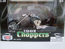 Iron Choppers Black with Flames, Custom Chopper, Motormax Motorcycle Model 1:18