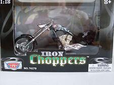 ACERO CHOPPERS NEGRO CON LLAMAS, custom chopper, Motormax Moto Modelo 1:18