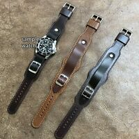 Extra-Long Military Style Leather Cuff Watch Strap/Band Size 16/18/20/22mm #156
