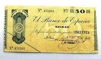 Spain-GUERRA CIVIL. Billete. 50 pesetas 1936. Bilbao. Banco de Vizcaya. MBC+/VF+