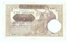 1941 Serbia Nazi Occupation Overprint 100 Dinara Banknote