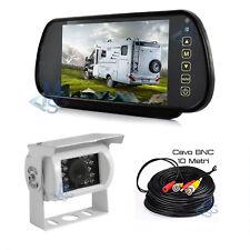 """Kit Retromarcia Specchietto 7"""" LCD Retrocamera HD LED Cavo 10 MT per Auto Camper"""