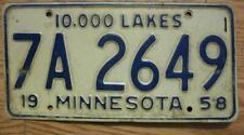 SINGLE MINNESOTA LICENSE PLATE - 1958 - 7A 2649 - 10000 LAKES
