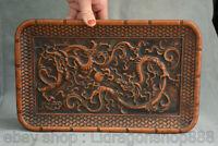"""12.8 """"Chinois Huanghuali Bois Sculpté Dynastie 2 Dragon Perle Plaque Plateau"""