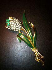 Coro  Signed 1939 Adolph Katz Tulip  Rhinestone Trembler Brooch Pin Book Piece