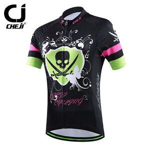 2021 CHEJI Women's Cycling Clothing Bike Cycling Jersey MTB Shirt Black Skull