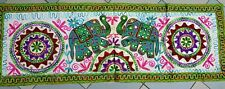 Arazzo etnico ricamo elefanti indian artistic handmade  colourful embroidery.