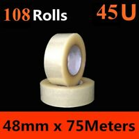 108 x HD Packing Tape Packaging Clear Sticky Sealing Tape 48mm 75M transparent