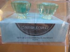 NEW* Glass Cabinet Knob Cupboard Drawer HANDLES Set of 4 Green Cynthia Rowley