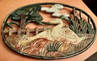 Gorgeous Vintage Swan Themed Cast-Iron Oval Trivet VGC