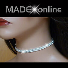 Thin Elasticated Stretchy Diamante Choker Sparkly Bling