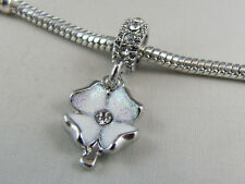 WHITE 4 LEAF CLOVER DANGLE CHARM WITH RSTONES EURO STYLE CHARM BRACELETS #DC 262