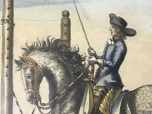 Louis XIV 18th century French engraving of horse Equestrian Castle hand colored