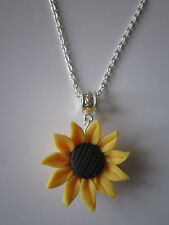 Ladies 17 inch Sunflower Necklace, Silver Plated - Yellow Fimo Flower