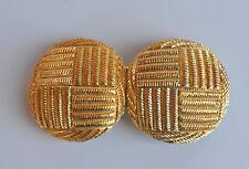 VINTAGE massive signed Douglas Paquette women's belt buckle goldtone textured