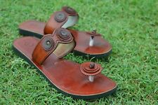Handmade Real Leather Sandal Women Natural Brown Slipper Ladies Flip Flop US 9