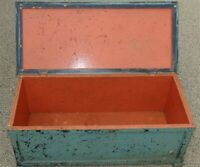 Antique Hand Made Painted Pine Wood Toy Chest