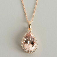 Solid 14k Yellow Gold Over 4 Ct Pear Cut Morganite Halo Pendant Necklace