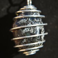 """CHARGED, Natural APACHE TEARS Crystal Perfect Pendant™ 20"""" Silver Chain"""