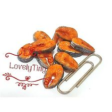 Dollhouse Miniature Food: 10 pieces of loose Grilled Salmon sliced