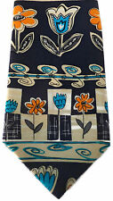 Silk Neck Tie Whimsical Blue and Orange Flowers Tulips Daisies Swirly