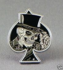 Skull Ace motorcycle enamel pin / lapel badge gambling cards poker