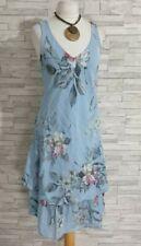 MADE IN ITALY Summer Dress 14-UK Blue/Pink Floral V-Neck Lagenlook Fit & Flare