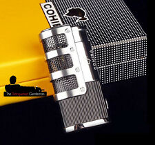 COHIBA BLACK & CHROME 3 FLAME JET CIGAR / CIGARETTE LIGHTER & BUILT-IN PUNCH CUT